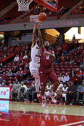 26 November 2016:  the ball rolls off the fingertips of Darell Combs with Tony Wills(12) defending during an NCAA  mens basketball game between the IUPUI Jaguars the Illinois State Redbirds in a non-conference game at Redbird Arena, Normal IL