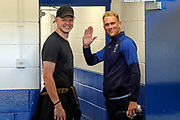 Ex AFC Wimbledon goalkeeper Aaron Ramsdale with AFC Wimbledon midfielder Mitchell (Mitch) Pinnock (11) prior to the game during the EFL Cup match between AFC Wimbledon and Milton Keynes Dons at the Cherry Red Records Stadium, Kingston, England on 13 August 2019.