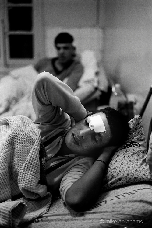 Jabalya Refugee Camp, Gaza 1988. Youths recovering from injuries sustained during the Intifada againt the Israeli occupation. Shifa Hospital.