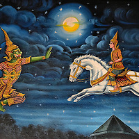 Ramakien Epic Mural at Wat Chiang Man in Chiang Mai, Thailand <br /> The walls inside the newest viharn at Wat Chiang Man are decorated with beautiful paintings like this one that is a scene from Thailand's national epic called Ramakien.  Adopted from a Hindu story, this mural shows Sida's son Mongkut (or Kusa) and his friend Lop (Lava) riding a white horse that was released by Rama.  On the left is Hanuman, the God-king of apes and a monkey general.