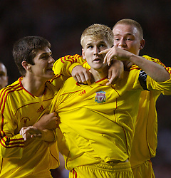 Manchester, England - Thursday, April 26, 2007: Liverpool's Robbie Threlfall (c) celebrates with team-mates Ryan Flynn and Ray Putterill after scoring the opening goal against Manchester United to level the tie 2-2 during the FA Youth Cup Final 2nd Leg at Old Trafford. (Pic by David Rawcliffe/Propaganda)