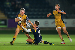 Billy Searle of Bristol Rugby is tackled by Jamie Shillcock of Worcester Warriors - Rogan Thomson/JMP - 04/11/2016 - RUGBY UNION - Sixways Stadium - Worcester, England - Worcester Warriors v Bristol Rugby - The Anglo Welsh Cup.