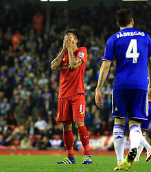 Roberto Firmino of Liverpool shows a look of dejection after missing a chance - Mandatory byline: Matt McNulty/JMP - 11/05/2016 - FOOTBALL - Anfield - Liverpool, England - Liverpool v Chelsea - Barclays Premier League
