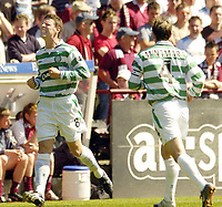 Hearts v Celtic, Scottish Premier League, Tynecastle Park, Edinburgh. Pic Shaun Dempsey, 15/05/2005<br /> Alan Thompson celebrates after scoring