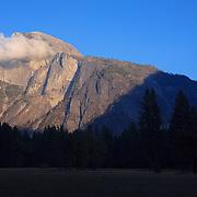Half Dome And Moon Rising - Yosemite Valley Meadow - Yosemite