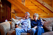 Top selling author Karin Slaughter does all her writing in a cabin in Epworth, Georgia. Her father Howard built the 2,400 square foot cabin for her. The two sit in the living room of the cabin June 13, 2010..CREDIT: Kendrick Brinson/LUCEO.KarinSlaughter