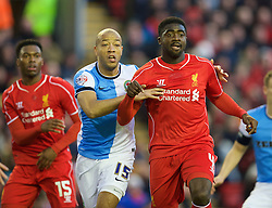 LIVERPOOL, ENGLAND - Sunday, March 8, 2015: Liverpool's Kolo Toure in action against Blackburn Rovers' Alex Baptiste during the FA Cup 6th Round Quarter-Final match at Anfield. (Pic by David Rawcliffe/Propaganda)
