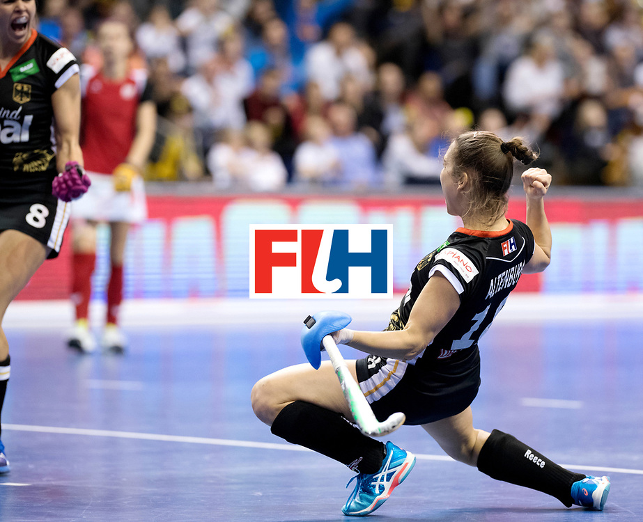 BERLIN - Indoor Hockey World Cup<br /> Quarterfinal 3: Germany - Poland<br /> foto: Lisa ALtenburg celebrates.<br /> WORLDSPORTPICS COPYRIGHT FRANK UIJLENBROEK
