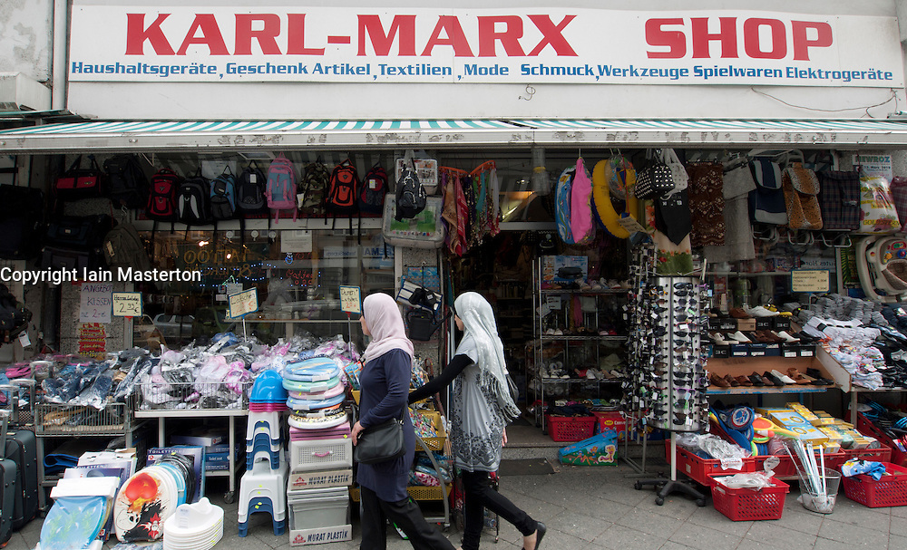 Exterior view of shop on Karl Marx street in Neukolln district of Berlin Germany