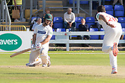 Ruaidhri Smith bowls a bouncer to Will Davis during the Specsavers County Champ Div 2 match between Glamorgan County Cricket Club and Leicestershire County Cricket Club at the SWALEC Stadium, Cardiff, United Kingdom on 18 September 2019.