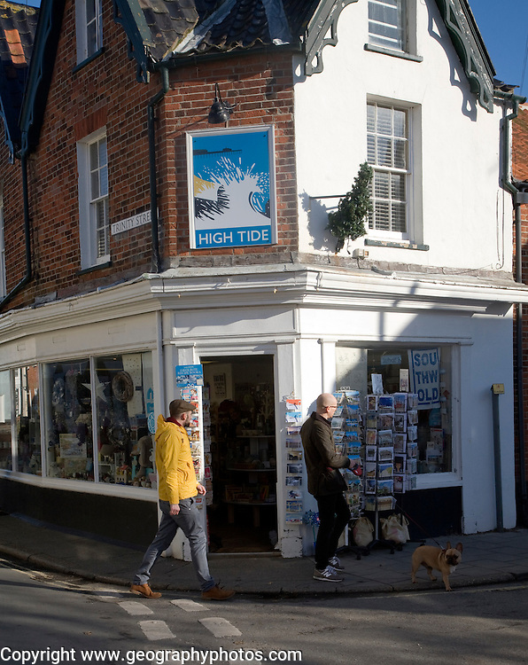 High Tide gift shop on street corner, Southwold, Suffolk, England