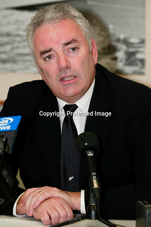 NZRFU CEO Murray McCaw at the press conference on the review of the Rugby World Cup, 25 April, 2002.  Photo: PHOTOSPORT