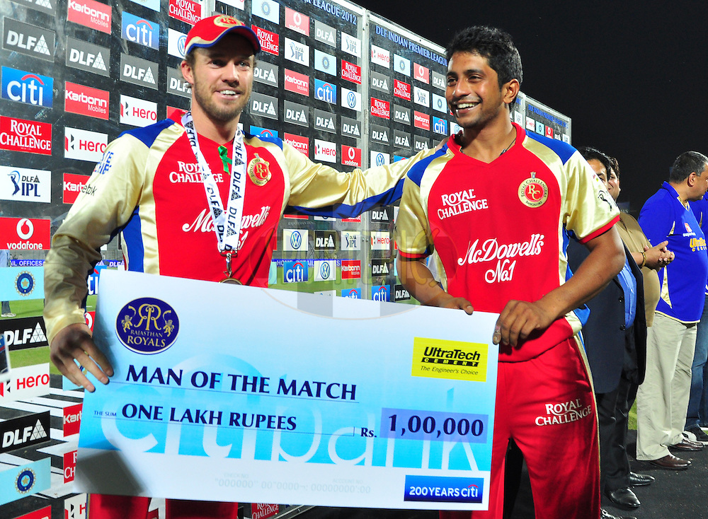 AB De villirers received his man of the match award with KP Appanna during match 30 of the the Indian Premier League ( IPL) 2012  between The Rajasthan Royals and the Royal Challengers Bangalore held at the Sawai Mansingh Stadium in Jaipur on the 23rd April 2012..Photo by Arjun Panwar/IPL/SPORTZPICS