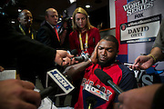 10/22/13 — BOSTON — Boston Red Sox designated hitter David Ortiz fields questions from the press during the World Series Media Day at Fenway Park on Oct. 22, 2013.