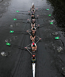 © Licensed to London News Pictures.13/06/15<br /> Durham, England<br /> <br /> A boat passes under a bridge during races at the 182nd Durham Regatta rowing event held on the River Wear. The origins of the regatta date back  to commemorations marking victory at the Battle of Waterloo in 1815. This is the second oldest event of this type in the country and attracts over 2000 competitors from across the country.<br /> <br /> Photo credit : Ian Forsyth/LNP