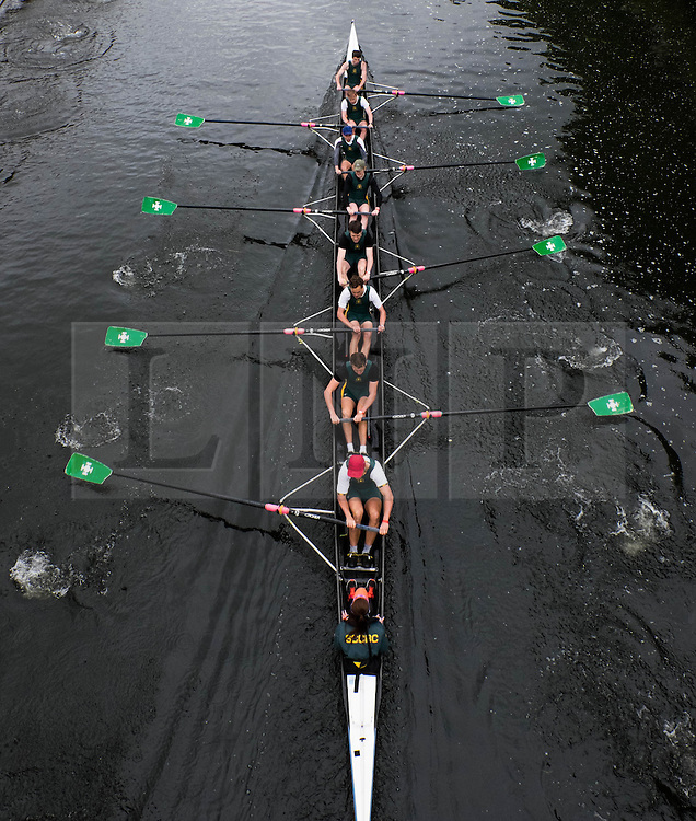 &copy; Licensed to London News Pictures.13/06/15<br /> Durham, England<br /> <br /> A boat passes under a bridge during races at the 182nd Durham Regatta rowing event held on the River Wear. The origins of the regatta date back  to commemorations marking victory at the Battle of Waterloo in 1815. This is the second oldest event of this type in the country and attracts over 2000 competitors from across the country.<br /> <br /> Photo credit : Ian Forsyth/LNP