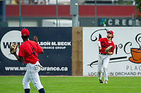 KELOWNA, BC - JULY 06: Brandon Hupe #18 of the Kelowna Falcons throws the ball to the infield against the Walla Walla Sweets at Elks Stadium on July 6, 2019 in Kelowna, Canada. (Photo by Marissa Baecker/Shoot the Breeze)