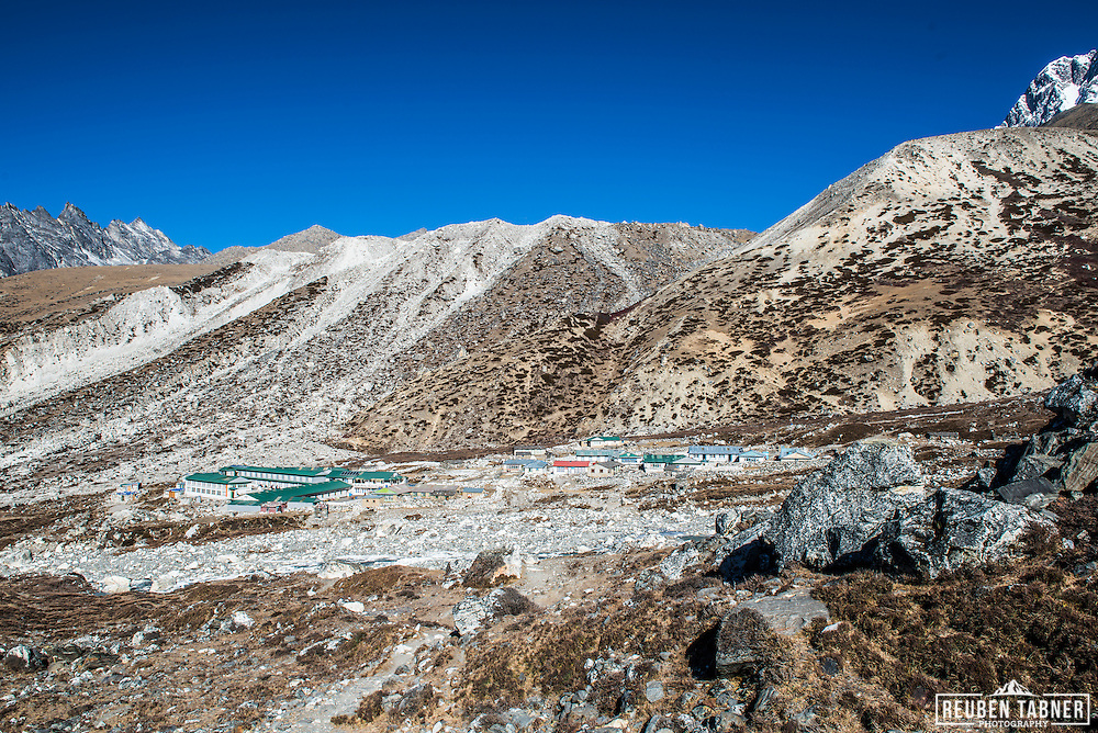 The village if Chhukhung at 4730 metres, which sits at the bottom of the Lhotse Glacier. Chhukhung is the starting point for people climbing Island Peak.