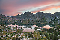 Sunrise over Island Lake and Fremont Peak, Bridger Wilderness, Wind River Range Wyoming
