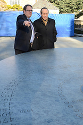 Turkish Ambassador to the United States, His Excellency Namik Tan visit to Yale University. In front of Sterling Memorial Library at the Women's Table Sulpture with James Cohen. 6 December 2012