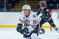 KELOWNA, CANADA - SEPTEMBER 5: Nick Chyzowski #16 of the Kamloops Blazers skates against the Kelowna Rockets on September 5, 2017 at Prospera Place in Kelowna, British Columbia, Canada.  (Photo by Marissa Baecker/Shoot the Breeze)  *** Local Caption ***