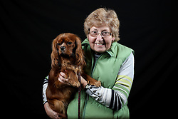 © Licensed to London News Pictures. 10/03/2016. Birmingham, UK. Janet Tyler with her Cavalier King Charles Spaniel named Zena at Crufts 2016 held at the NEC in Birmingham, West Midlands, UK. The world's largest dog show, Crufts is this year celebrating it's 125th anniversary. The annual event is organised and hosted by the Kennel Club and has been running since 1891. Photo credit : Ian Hinchliffe/LNP