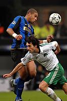 "Adriano (Inter) Jose Sarregi (Panathinaikos)<br /> Milano 26/11/2008 Stadio ""Giuseppe Meazza"" <br /> Champions League 2008/2009<br /> Inter Panathinaikos (0-1)<br /> Foto Insidefoto"