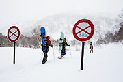After being skunked by the weather on a higher elevation zone, Alex Yoder (left) Gerry Lopez (middle) and Josh Dirksen (right) head for a zone known as T.T. Gully, named after Gentemstick legend Taro Tamai. A 45 minute hike up a summer road and through birch forests lead to deep powder and playful lines.