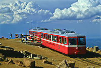 The Cog Railway carries touris to the summit of 14,110 ft. Pikes Peak.  Colorado.