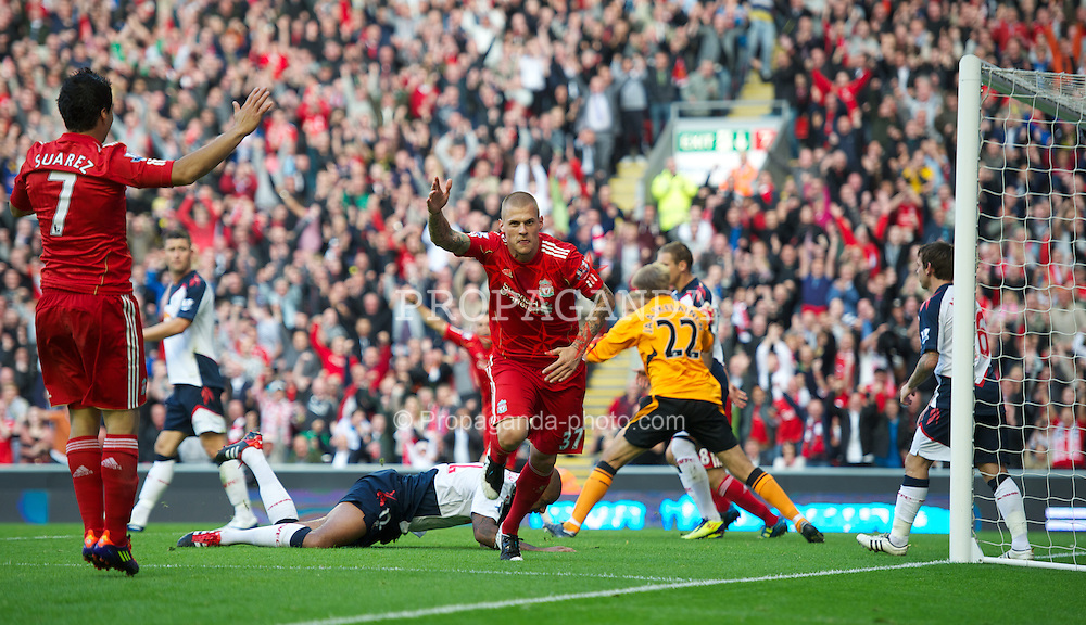 LIVERPOOL, ENGLAND - Saturday, August 27, 2011: Liverpool's Martin Skrtel celebrates scoring the second goal against Bolton Wanderers during the Premiership match at Anfield. (Pic by David Rawcliffe/Propaganda)