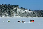 Ice fishing huts on Mary Lake <br />Port Sydney<br />Ontario<br />Canada