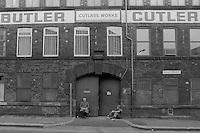 Cutlery workers take a break, George Butler Cutlers Ltd Sydney Street Sheffield 19 July 1983.