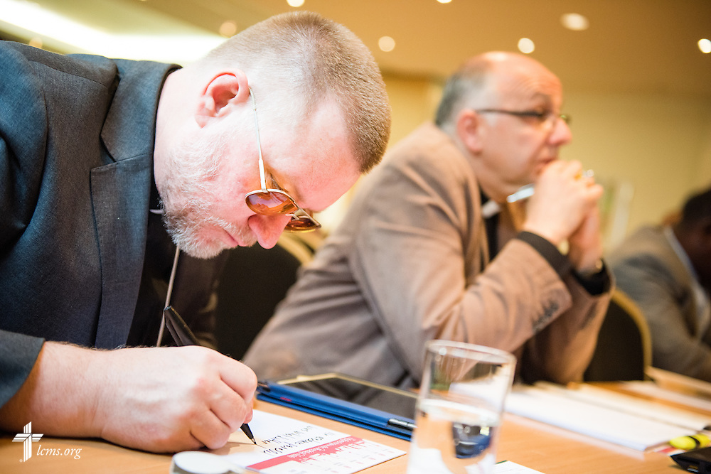 Church leaders listen and take notes Tuesday, May 5, 2015, at the International Conference on Confessional Leadership in the 21st Century in Wittenberg, Germany. LCMS Communications/Erik M. Lunsford