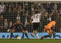 Football - 2017 / 2018 Sky Bet Championship - Fulham vs. Reading<br /> <br /> Aleksandar Mitrovic (Fulham FC) strikes a late effort at the Reading goal at Craven Cottage<br /> <br /> COLORSPORT/DANIEL BEARHAM