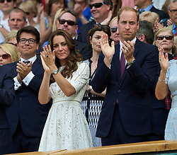 02.07.2014, All England Lawn Tennis Club, London, ENG, ATP Tour, Wimbledon, im Bild Catherine Middleton and William Windsor (Duke and Dutchess of Cambridge) applaud as Andy Murray is defeated during the Gentlemen's Singles Quarter-Final match on day nine // during the Wimbledon Championships at the All England Lawn Tennis Club in London, Great Britain on 2014/07/02. EXPA Pictures © 2014, PhotoCredit: EXPA/ Propagandaphoto/ David Rawcliffe<br /> <br /> *****ATTENTION - OUT of ENG, GBR*****