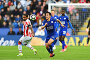 Leicester City forward Shinji Okazaki (20) during the Premier League match between Leicester City and Stoke City at the King Power Stadium, Leicester, England on 1 April 2017. Photo by Jon Hobley.