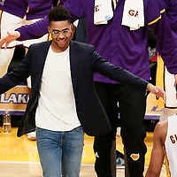 27 November 2016: Los Angeles Lakers guard D'Angelo Russell (1) congratulates Los Angeles Lakers guard Jordan Clarkson (6) during the Los Angeles Lakers 109-94 victory over the Atlanta Hawks, at the Staples Center, Los Angeles, California, USA.