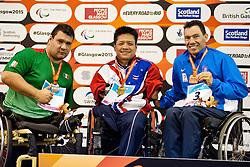 DOUNGKAEW Somchai, CASTORENA Arnulfo, KOSTAKIS Ioannis THA, MEX, GRE at 2015 IPC Swimming World Championships -  Men's 50m Breaststroke SB2