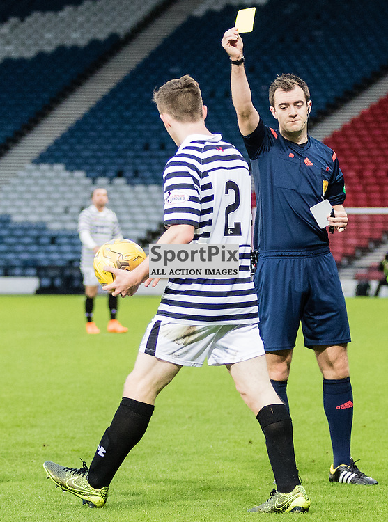 Queen's Park's Anthony Ralston gets booked for fouling  Peterhead's Nicky Riley during the Queen's Park FC V Peterhead FC Petrofac Training Cup semi-final played at Hampden Park, Glasgow on 14th November 2015; (c) BERNIE CLARK | SportPix.org.uk