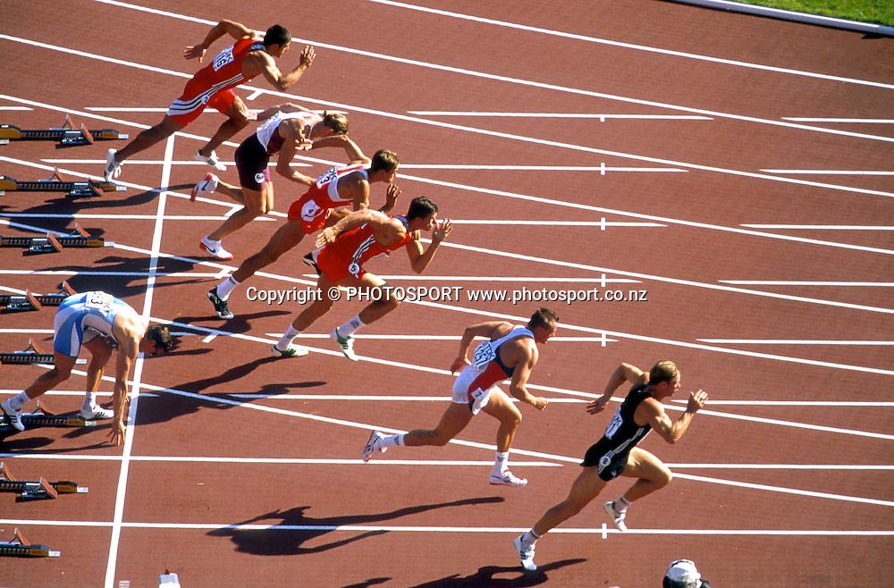 Simon Poelman of the mark. World Championships 1995. Athletics. Photo: PHOTOSPORT