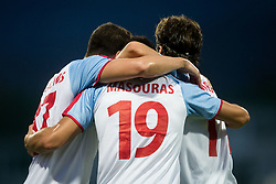 Valentinos Vlahos of Panionios GSS, Giorgos Masouras of Panionios GSS and Lazaros Lamprou of Panionios GSS celebrate after scoring first goal for Panionios during 2nd Leg football match between ND Gorica (SLO) and Panionios GSS (GRE) in 2nd Qualifying Round of UEFA Europa League 2017/18, on July 20, 2017 in Nova Gorica, Slovenia. Photo by Vid Ponikvar / Sportida