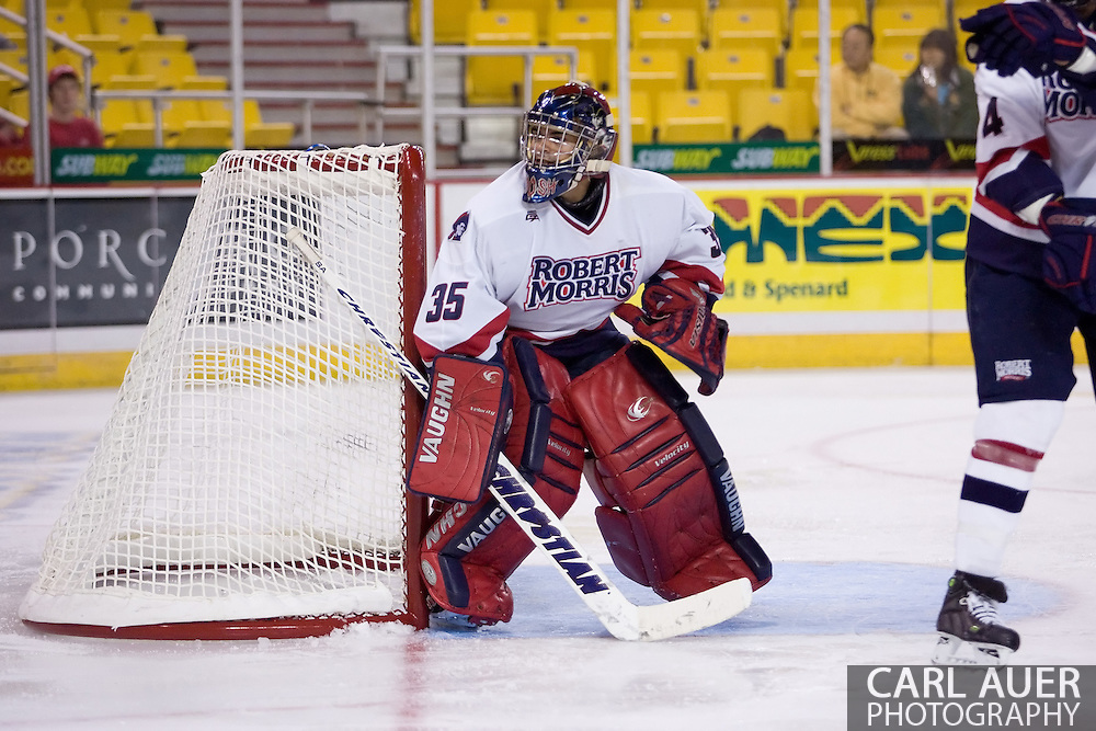 October 13, 2007 - Anchorage, Alaska:  Goalie Christian Boucher (35) of the Robert Morris Colonials had 19 saves and did not allow a goal in the 4-1 win over Wayne State in the 3rd game of the Nye Frontier Classic at the Sullivan Arena.  RMU would go on to be the Classic Champions after host Alaska-Anchorage tied with Boston University in the 4th game of the Classic.
