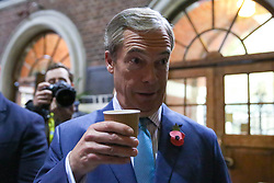 © Licensed to London News Pictures. 01/11/2019. London, UK. Brexit Party leader NIGEL FARAGE at The Emmanuel Centre, Westminster. The Brexit Party are launching their election campaign today. Photo credit: Dinendra Haria/LNP