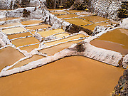 High-angle view of Salinas de Maras (Maras Saltworks), near Cusco, Peru.