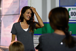 Lizzie Armitstead waits back stage with her Boels Dolmans teammates at Giro Rosa 2016 - Team Presentations in San Fior on 30th June 2016.