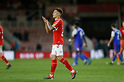 Middlesbrough midfielder Marcus Tavernier (28) applauds the fans at full time during the EFL Sky Bet Championship match between Middlesbrough and Ipswich Town at the Riverside Stadium, Middlesbrough, England on 29 December 2018.