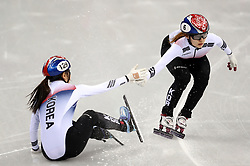 Republic of Korea's Minjeong Choi (right) and Yubin Lee in the Women's 3000m Short Track relay heat one during day one of the PyeongChang 2018 Winter Olympic Games in South Korea.