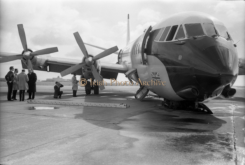 29/03/1963<br /> 03/29/1963<br /> 29 March 1963<br /> B.E.A. Aircrash at Dublin Airport. The crashed BEA Vanguard G-APEJ that carried 43 passengers and seven crew from London to Dublin. View of the crushed nose wheel.