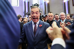 © Licensed to London News Pictures. 04/11/2019. London, UK. Brexit Party leader NIGEL FARAGE at an event in The Emmanuel Centre, Westminster where the party's Prospective Parliamentary Candidates (PPC) for the 2019 general election to be held on 12 December 2019 are  introduced.  Photo credit: Dinendra Haria/LNP