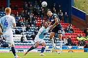 Leeds United midfielder Kalvin Phillips (23) beats Blackburn Rovers Bradley Dack in the air during the EFL Sky Bet Championship match between Blackburn Rovers and Leeds United at Ewood Park, Blackburn, England on 20 October 2018.